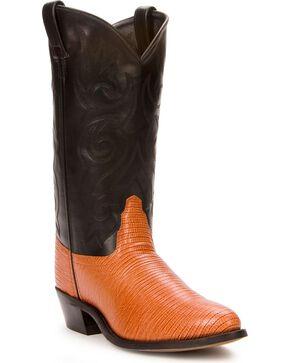 Old West Lizard Printed Cowboy Boots, Cognac, hi-res