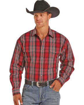 Panhandle Men's Burgundy Poplin Plaid Shirt , Burgundy, hi-res