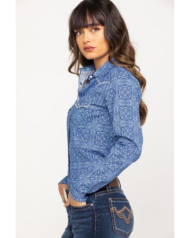 Rough Stock by Panhandle Women's Blue Vintage Print Long Sleeve Western Shirt, Blue, hi-res