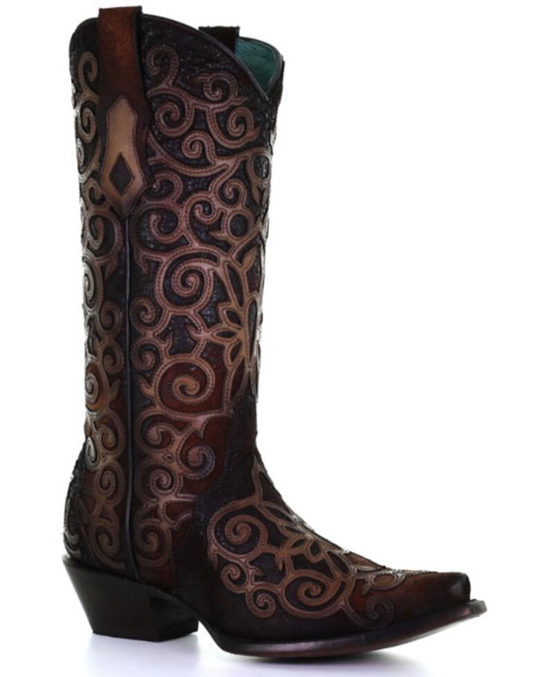 Corral Women's Leather Overlay & Embroidery Western Boots - Snip Toe, Chocolate, hi-res