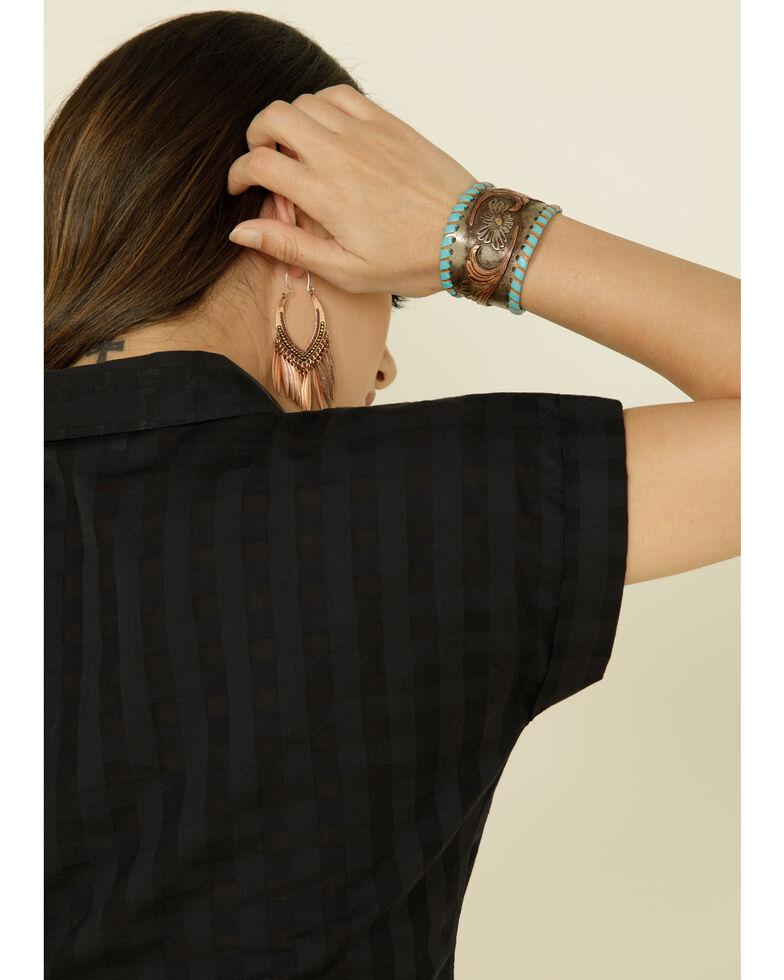 Shyanne Women's Burnout Plaid Button Front Shirt, Black, hi-res