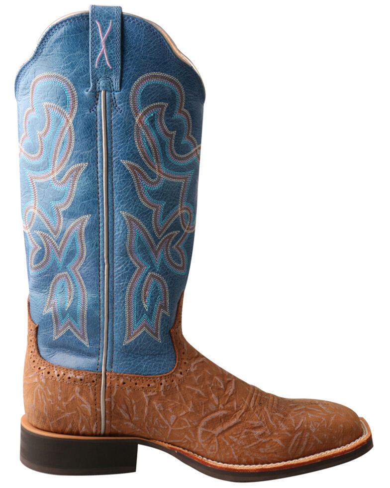 "Twisted X Women's 13"" Tan & Sky Blue Ruff Stock Western Boots - Wide Square Toe, Tan, hi-res"