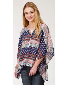 Roper Women's Border Print Tie Neck Poncho, Blue, hi-res