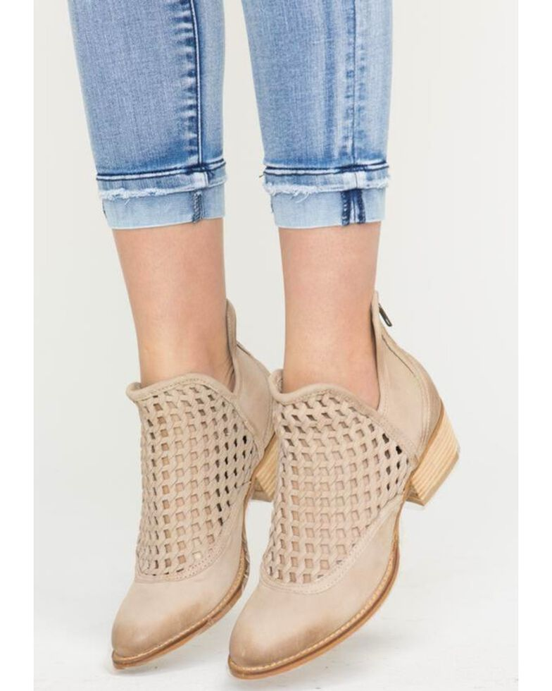 Very Volatile Women's Hudsun Stone Woven Booties - Medium Toe, Beige/khaki, hi-res