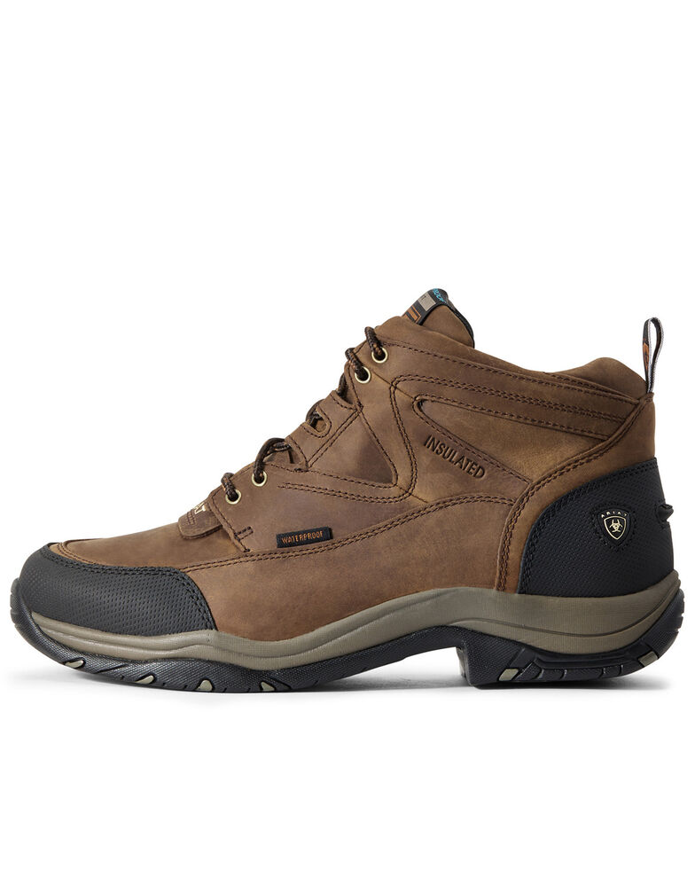 Ariat Men's Terrain Waterproof Work Boots - Soft Toe, Brown, hi-res