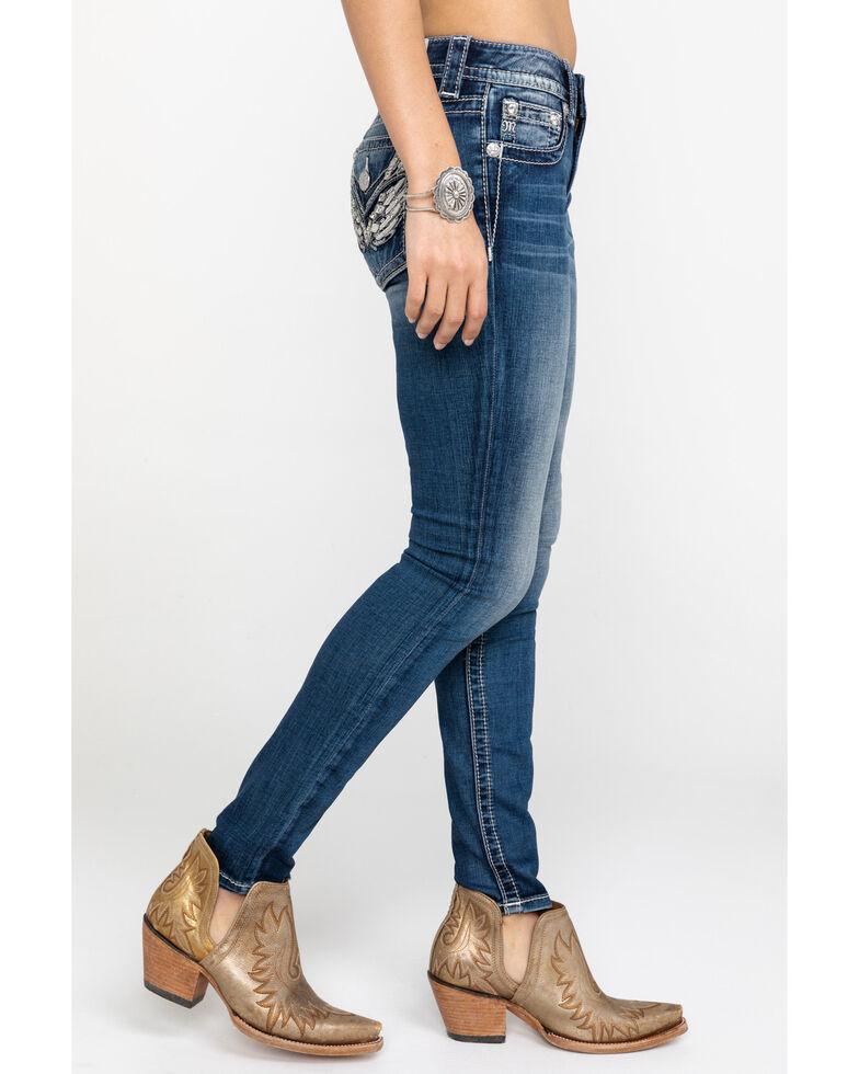 Miss Me Women's Angel Wing Medium Skinny Jeans, Blue, hi-res
