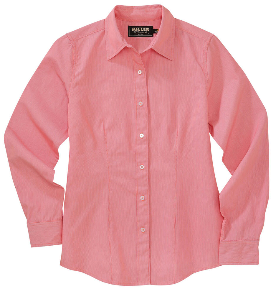 Miller Ranch Womens Pink Dobby Stripe Dress Shirt Country Outfitter