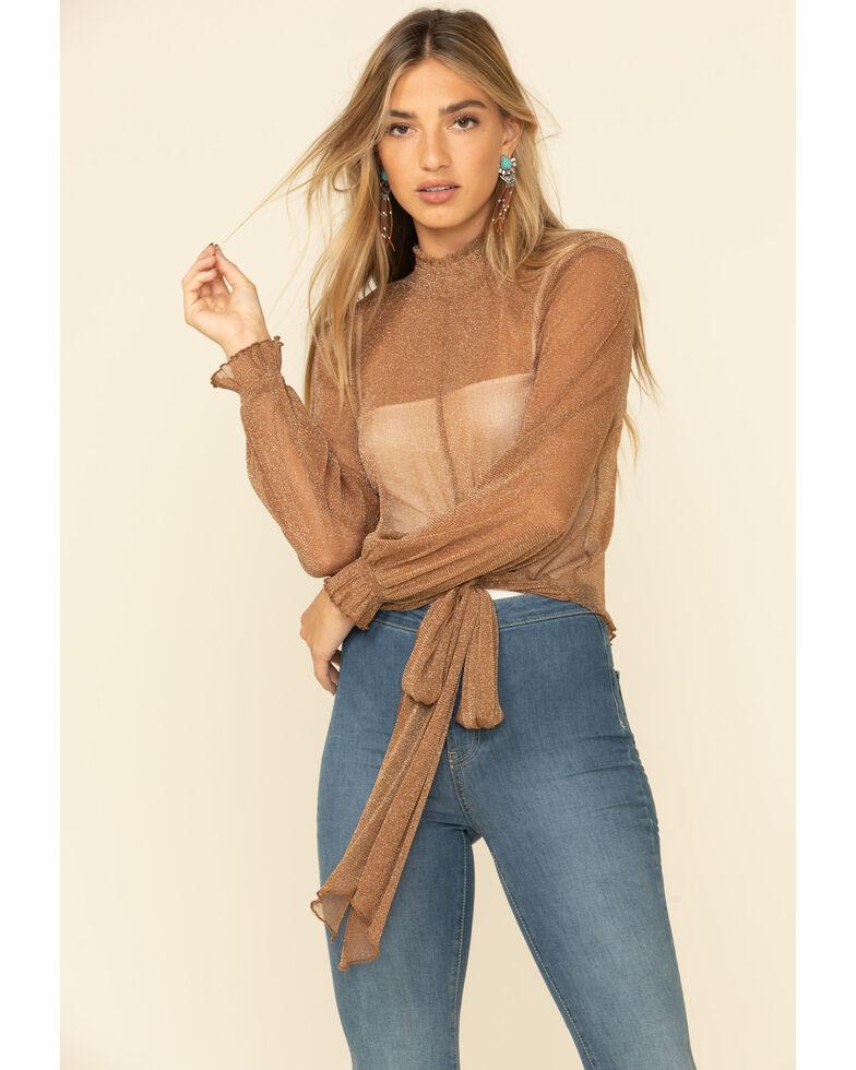 HYFVE Women's Lurex Sheer High Mock Neck Top , Brown, hi-res