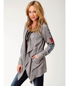 Roper Women's Gray A Rose Is A Rose Cardigan , Grey, hi-res