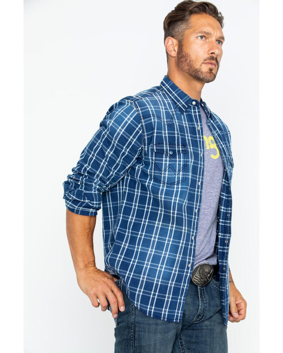 Wrangler Retro Men's Long Sleeve Premium Plaid Shirt , Indigo, hi-res