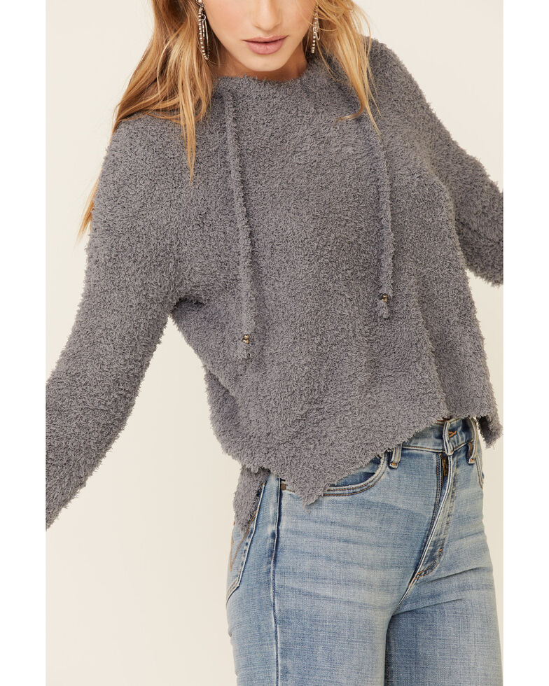 POL Women's Berber Fleece Cozy Hooded Sweater , Grey, hi-res