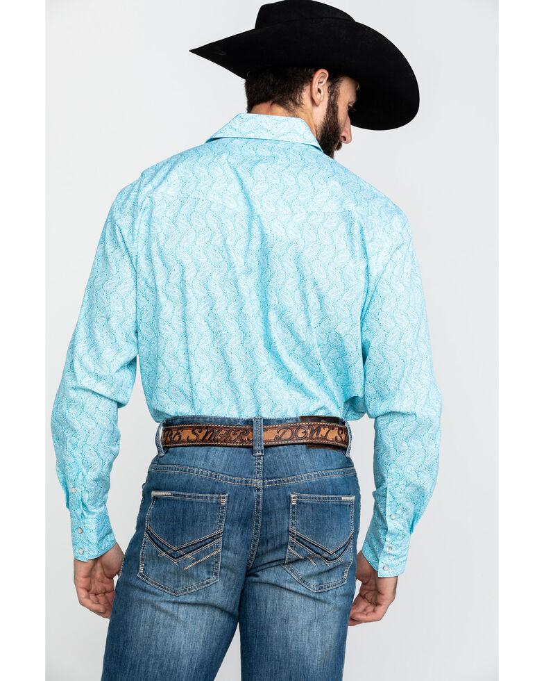 Roper Men's Amarillo Nested Paisley Print Long Sleeve Western Shirt , Blue, hi-res