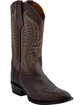 Ferrini Men's Lizard Belly Western Boots - Medium Toe , Chocolate, hi-res