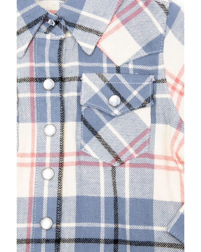 Wrangler Infant & Toddler Girls' Big Plaid Snap Long Sleeve Shirt, Multi, hi-res
