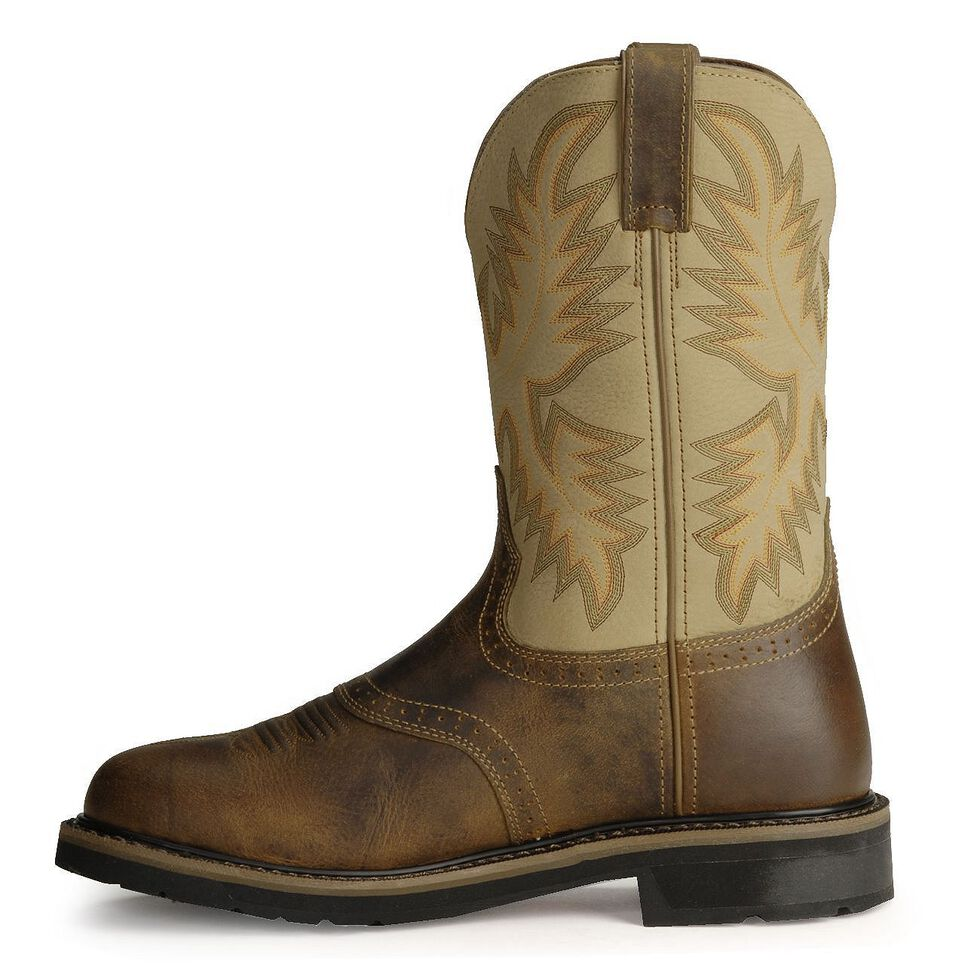 Justin Men's Stampede Superintendent Creme Work Boots - Steel Toe, Brown, hi-res