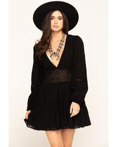 Free People Women's Delightful Mini Dress, Black, hi-res