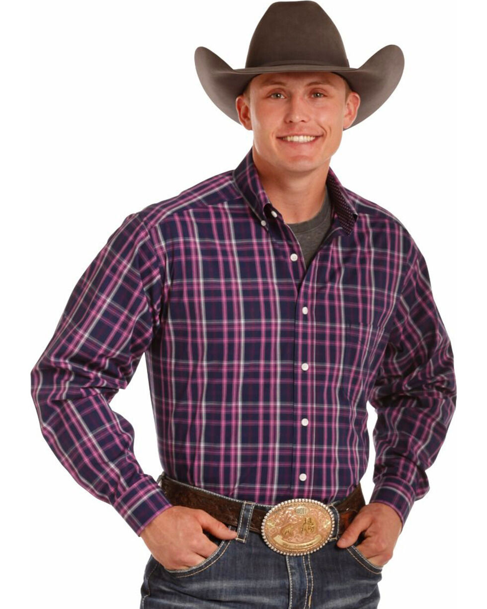 Tuf Cooper Men's Pink Plaid Long Sleeve Western Shirt , Pink, hi-res
