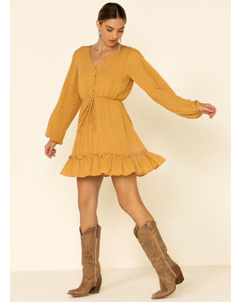 Peach Love Women's Ruffle Hem Dress, Mustard, hi-res
