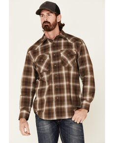 Pendleton Men's Brown Plaid Frontier Long Sleeve Snap Western Shirt , Brown, hi-res
