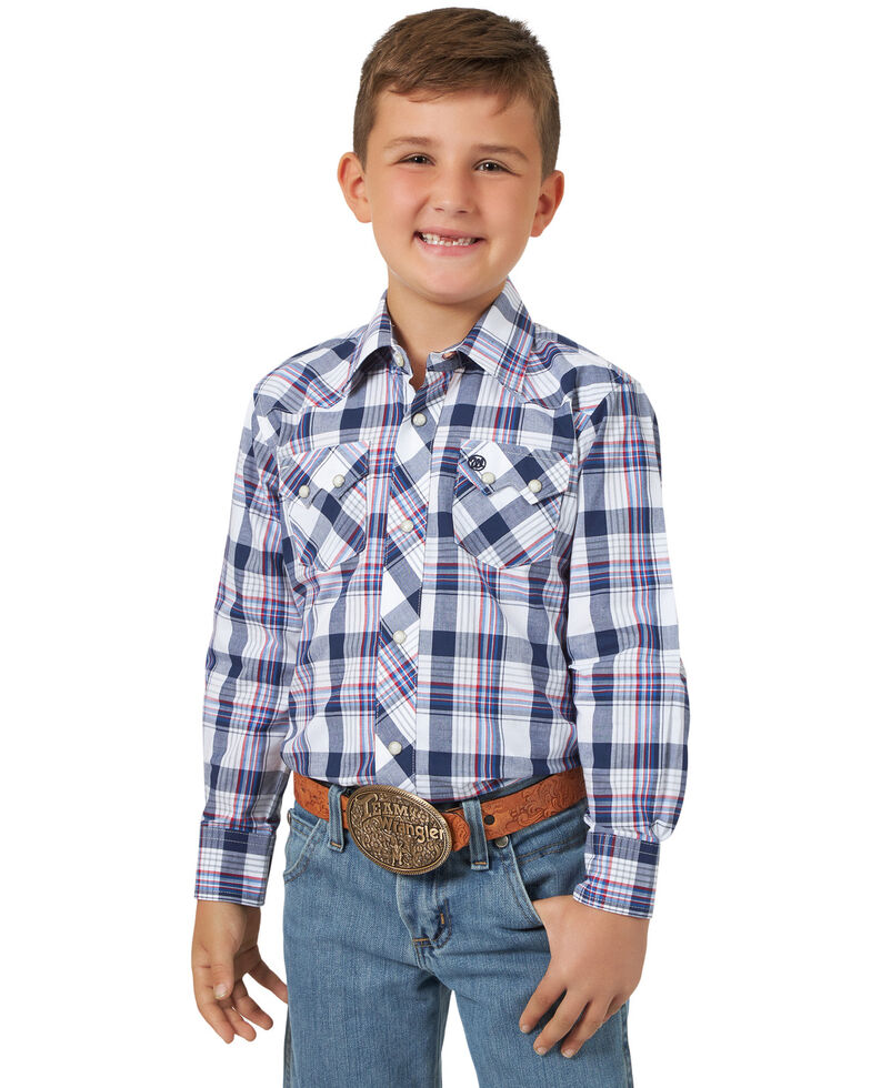 Wrangler Retro Boys' Blue Plaid Long Sleeve Western Shirt , Blue, hi-res