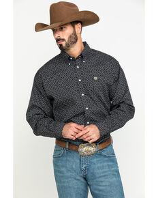 Cinch Men's Black Dot Geo Print Button Long Sleeve Western Shirt - Big , Black, hi-res