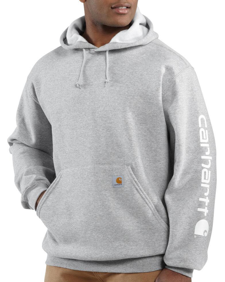 Carhartt Men's Logo Hooded Work Sweatshirt, Hthr Grey, hi-res