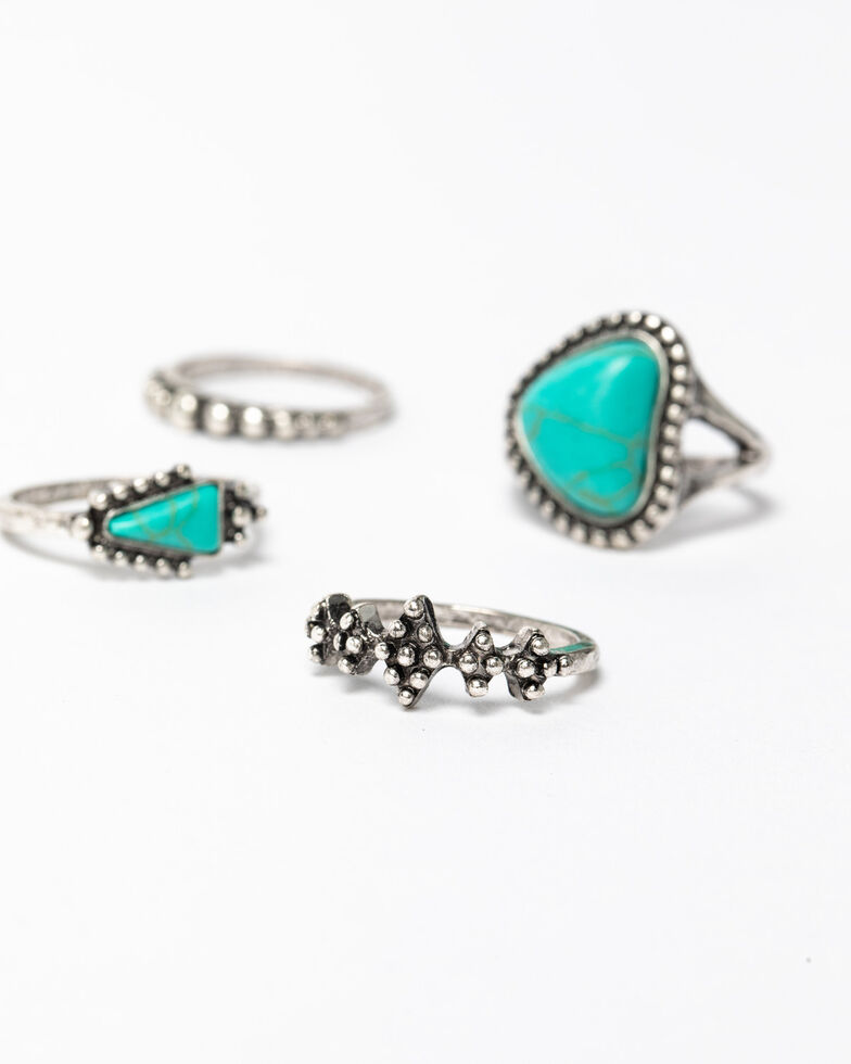 Shyanne Women's Blue Falls Multi Textured Turquoise Ring Set, Silver, hi-res
