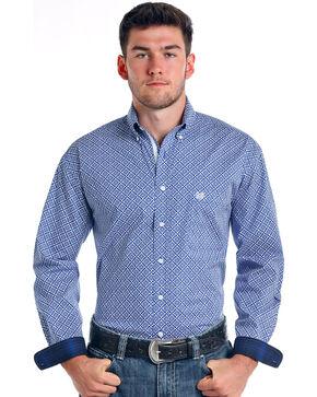 Rough Stock by Panhandle Men's Donato Vintage Print Long Sleeve Button Down Shirt, Royal Blue, hi-res