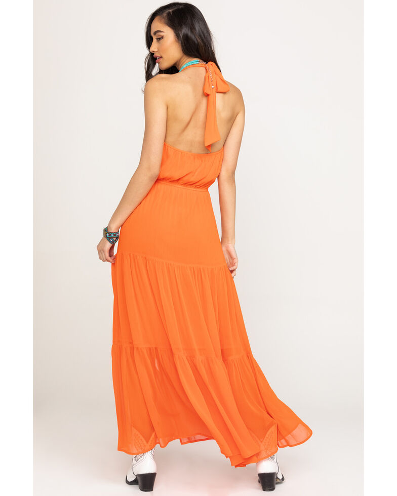 Flying Tomato Women's Orange Halter Maxi Dress, Orange, hi-res