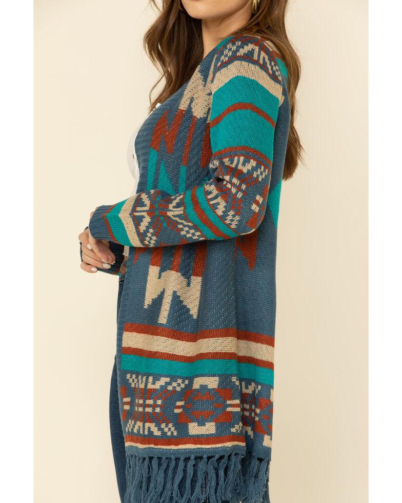 Joseph Studio Women's Aztec Fringe Cardigan, Blue, hi-res