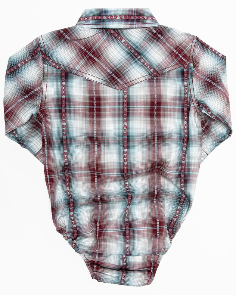 Cody James Infant Boys' MC' Calister Plaid Long Sleeve Woven Onesie , Blue, hi-res