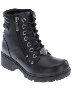 Harley Davidson Women's Inman Hills Moto Boots - Round Toe, Black, hi-res