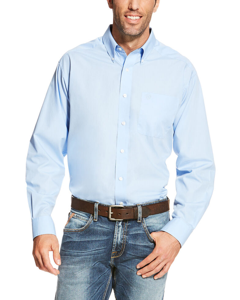 Ariat Men's Blue Wrinkle Free Button Long Sleeve Western Shirt - Tall , Blue, hi-res