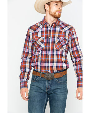 Wrangler Men's Retro Rust Plaid Western Shirt , Rust Copper, hi-res