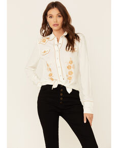 Stetson Women's White Poly Crepe Retro Embroidered Long Sleeve Snap Western Shirt , White, hi-res
