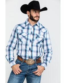 Wrangler Men's White Plaid Fashion Snap Long Sleeve Western Shirt , White, hi-res