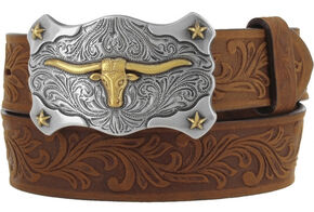 Tony Lama Boys' Brown Little Texas Belt and Buckle , Brown, hi-res