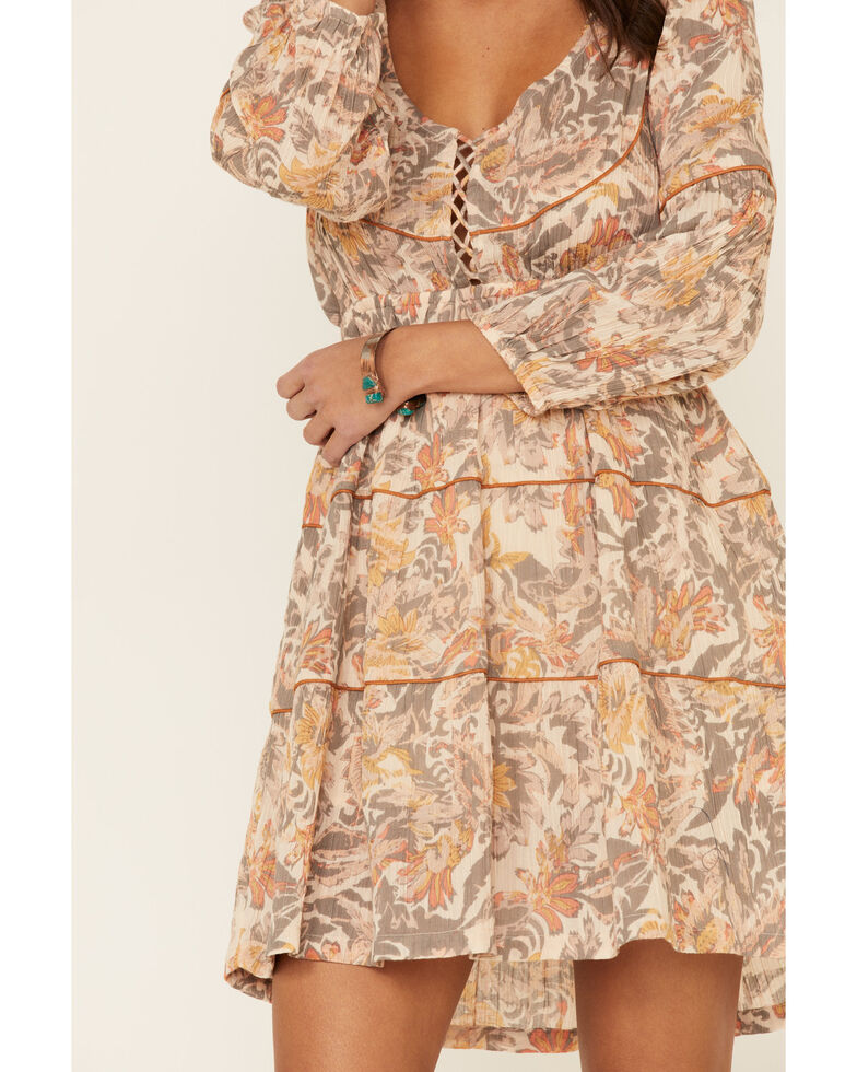 Shyanne Women's Vintage Floral Long Sleeve Peasant Dress, Grey, hi-res