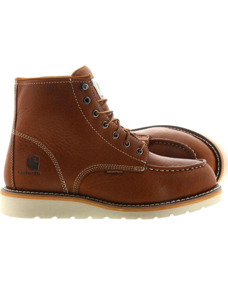 "Carhartt Men's 6"" Tan Waterproof Wedge Boots - Steel Toe, Tan, hi-res"
