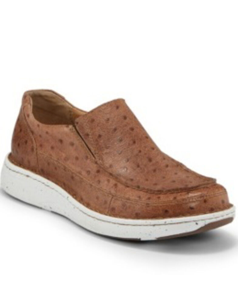 Justin Men's Hazer Tan Full Quill Ostrich Print Shoes - Moc Toe, Brown, hi-res