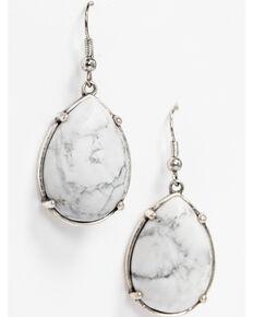 Idyllwind Women's White Turquoise Teardrop Earrings , Silver, hi-res