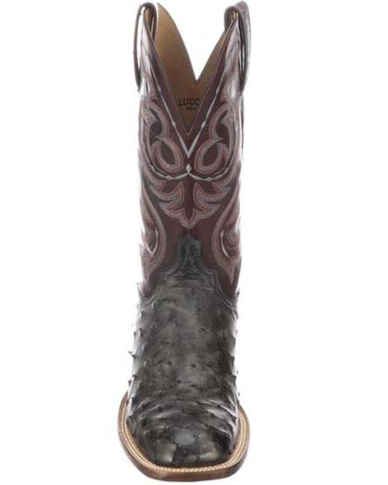Lucchese Men's Harris Full Quill Ostrich Western Boots - Wide Square Toe, Dark Grey, hi-res