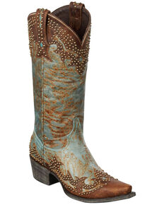 Lane Stephanie Cowgirl Boots - Snip Toe, Turquoise, hi-res