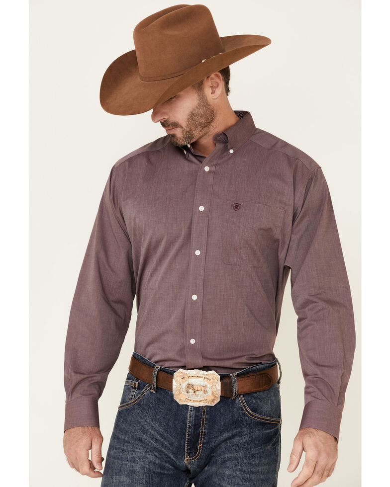 Ariat Men's Burgundy Wrinkle Free Oxford Pinpoint Long Sleeve Button-Down Western Shirt - Big, Burgundy, hi-res
