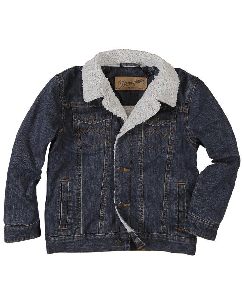 Wrangler Boys' Rustic Sherpa Lined Denim Jacket , Blue, hi-res