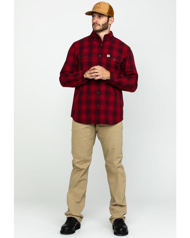 Carhartt Men's Red Fort Plaid Button Long Sleeve Work Shirt , Dark Red, hi-res
