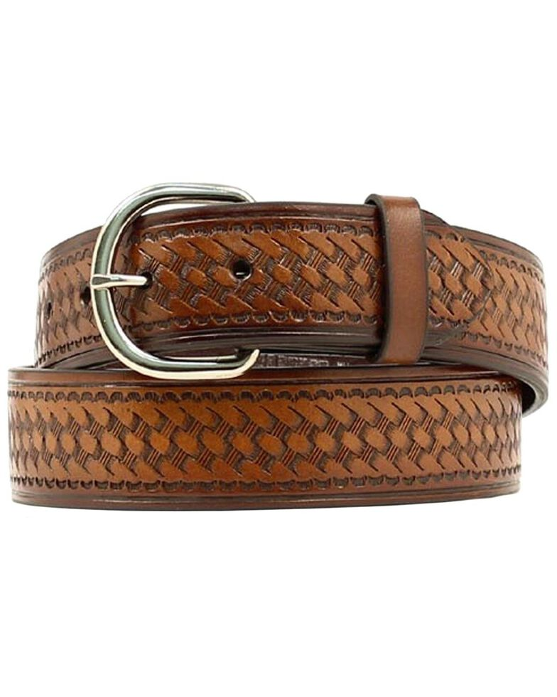 Nocona Basket Stamped Leather Belt - XL, Brown, hi-res