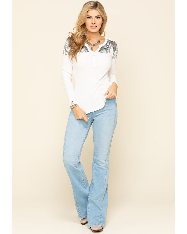 Idyllwind Women's Lace Henley Long Sleeve Top, Cream, hi-res