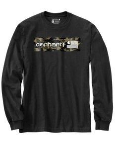 Carhartt Men's Black Camo USA Flag Graphic Midweight Long Sleeve Work T-Shirt - Tall , Black, hi-res