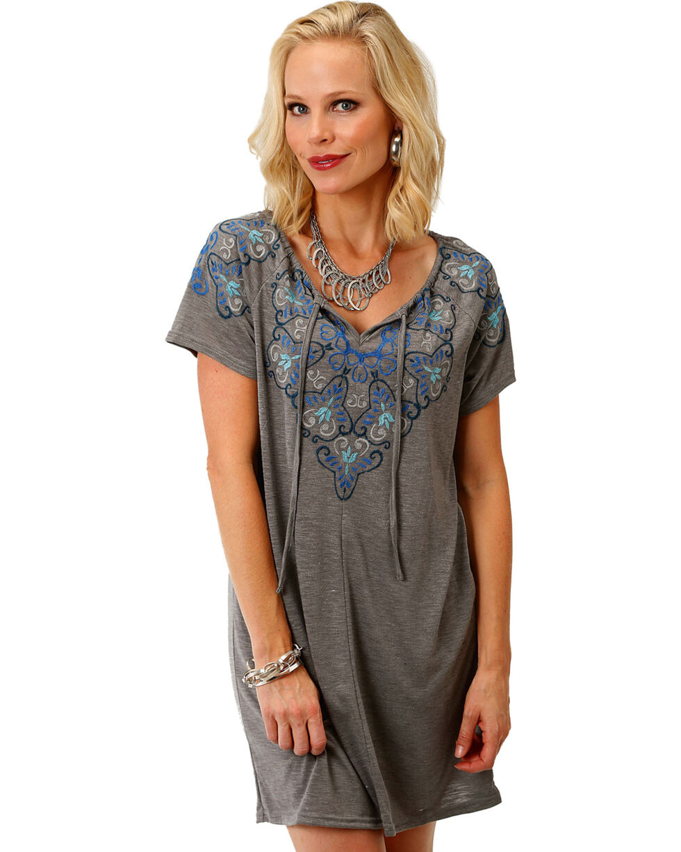 Roper Women's Embroidered Tie Neck Peasant Dress, Grey, hi-res